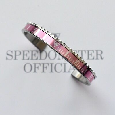 Speedometer Official Silver Steel with Pink Insert Bangle Bracelet