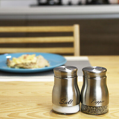 2-Piece Stainless Steel Glass Salt Pepper Shaker Seasoning Twist Rotating Cover