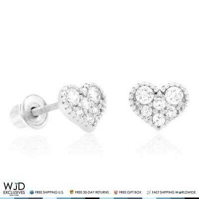 0.40Ct Created Diamond 5mm Heart Shape Halo Stud Earrings 14K White Gold