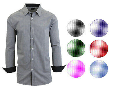 Mens Long SLeeve Dress Shirt Button Down Casual Slim Fit Checkered Plaid NWT