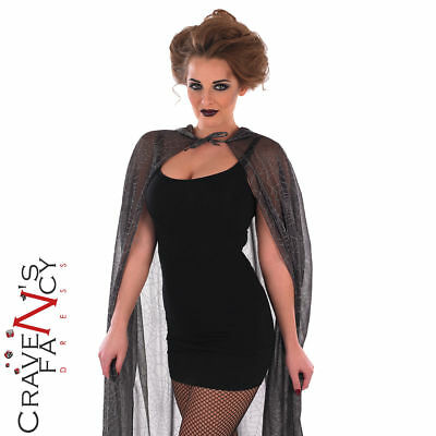 Ladies Spider Web Cape Cloak Adults Halloween Fancy Dress Costume Womens Outfit