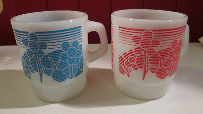 Anchor Hocking lot of 2 milk glass coffee mugs blue red flowers