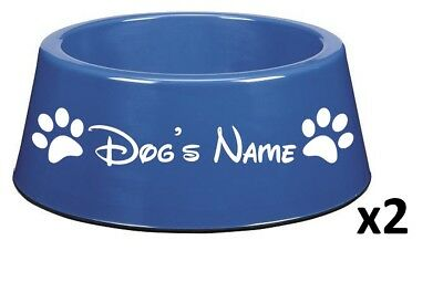 TWO Personalised Dog Pet Puppy Dish Vinyl Stickers Disney Font. BOWL NOT INCL.