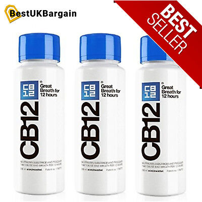 CB12 Menthol Mouthwash 250ML 3 PACK Mint great breath for 12 hours Top Quality