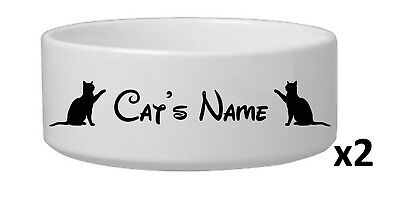 TWO Personalised Cat Pet Dish Bowl Vinyl Stickers Disney Font 15 colours!