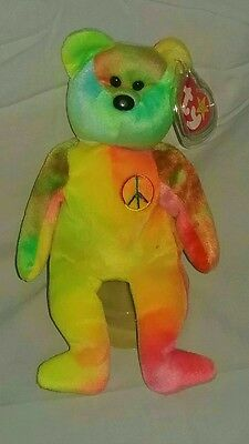 Ty Beanie Baby Babies~PEACE BEAR~5th Gen. No Stamp~Neon Yellow/Green/Pink