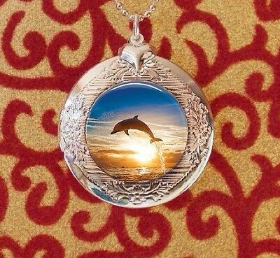 Dolphin Jumping Over the Sunset, Silver Bubble Charm Photo Locket Necklace USA
