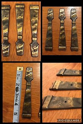 3 BACK PLATES for Handles Pulls Antique Brass Two Tone Cabinet Drawer Vintage