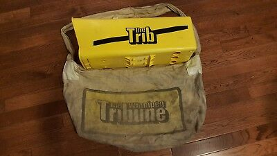 Vtg Trib Yellow plastic Winnipeg Tribune Mailbox & newspaper carrying bag postal