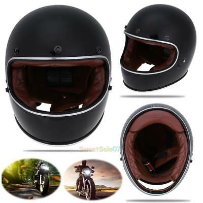 DOT Vintage Full Face Racing Motorbike Helmet Motorcycle Leather Lining Helmet
