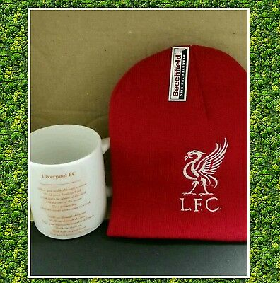 Liverpool fc football club embroidered beanie hat and printed mug gift set