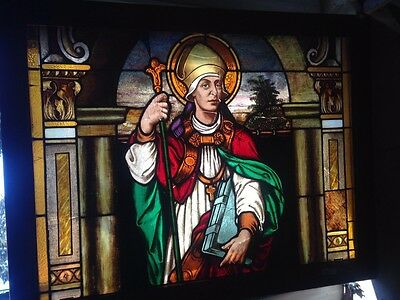 ANTIQUE Painted STAINED GLASS CHURCH RELIGIOUS WINDOW Priest Bishop Cardinal