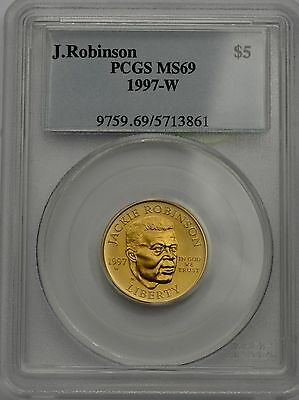 1997-W Jackie Robinson Commemorative Five Dollar $5 Gold Coin PCGS MS69