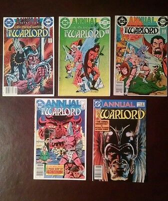 Annual, Dc The Warlord Comic Books, Lot Of 5 (1982-83-84-85-86)
