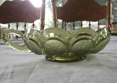 Vintage Fostoria Glass Olive Green Coin Handled Nappy