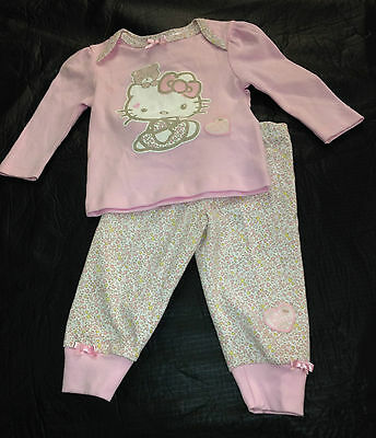 NWT Hello Kitty Licensed Girls Glitter Bows Hearts Winter Pyjamas Size 1