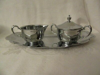 Metal ?Chrome Creamer, Sugar Bowl with Lid on Serving Tray