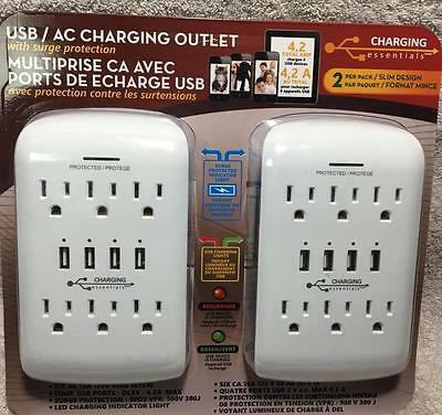 USB/AC Charging Outlet with Surge Protection by Charging Essentials white 2 PACK