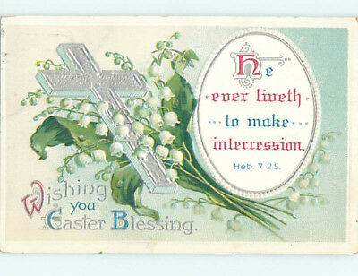 Pre-Linen easter HEBREWS BIBLE QUOTE & CROSS & LILY OF THE VALLEY FLOWERS hr2656