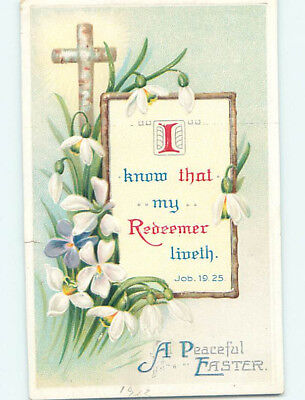 Pre-Linen easter religious JOB BIBLE QUOTE & WHITE FLOWERS hr2630