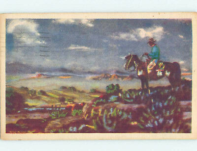 Damaged Linen POSTCARD OF OLD WEST PAINTING AT MUSEUM hr1483