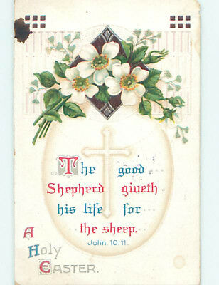 Pre-Linen easter JOHN BIBLE QUOTE & JESUS CROSS ON EGG WITH FLOWERS hr2632