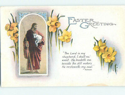 Pre-Linen easter religious PSALMS BIBLE QUOTE & JESUS HOLDING BABY LAMB hr2620