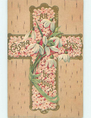 Pre-Linen easter religious JESUS CHRIST MADE OF PINK FLOWERS hr2684