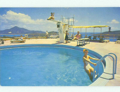 Pre-1980 risque BATHING SUIT GIRL AT VERSION ISLE HOTEL St. Thomas USVI hr4915