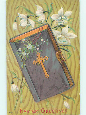Pre-Linen easter religious LARGE ANTIQUE BIBLE WITH CLASP ON POSTCARD hr2127