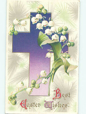 Pre-Linen easter religious LILY OF THE VALLEY FLOWERS WITH JESUS CROSS hr2468