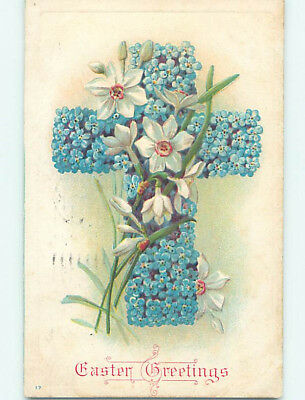 Pre-Linen easter religious JESUS CROSS MADE OF FORGET-ME-NOT FLOWERS hr2203