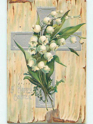 Pre-Linen easter religious LILY OF THE VALLEY FLOWERS ON JESUS CROSS hr2381