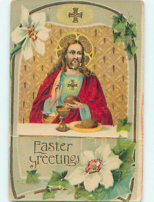 Surface Wear Pre-Linen easter religious JESUS SITTING AT THE TABLE hr2208