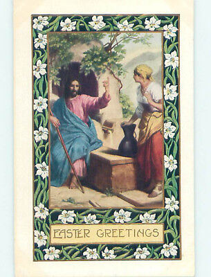Pre-Linen easter religious JESUS CHRIST TALKS TO WOMAN WITH WATER JUG hr2490