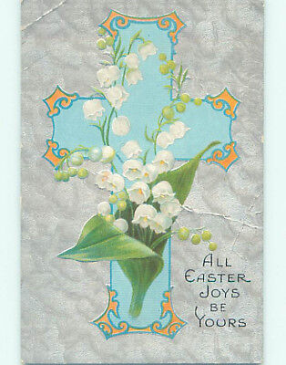 Bent Pre-Linen easter religious LILY OF THE VALLEY FLOWERS ON JESUS CROSS hr2219