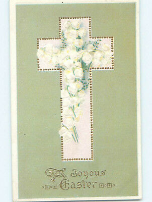 Pre-Linen easter religious LILY OF THE VALLEY FLOWERS INSIDE JESUS CROSS hr2446