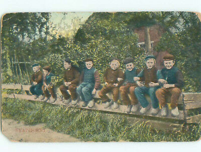 Pre-Linen foreign BOYS SITTING ON FENCE IN STAPHORST NETHERLANDS J4634