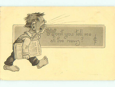 Pre-Linen comic signed YELLING MAN CARRYING NEWSPAPER J3796