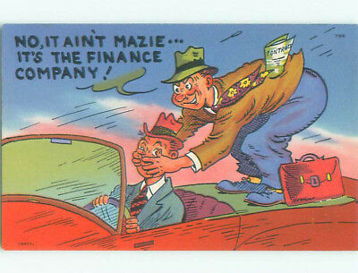 Unused Pre-Chrome comic MAN FROM FINANCE COMPANY BLINDFOLDS CAR DRIVER J3749
