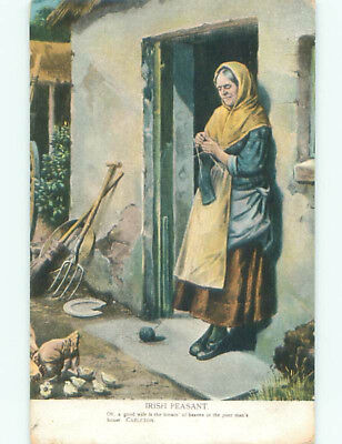 Pre-Linen IRISH PEASANT - POOR WOMAN DOES KNITTING AT THE DOORWAY J4053