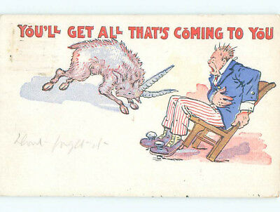 Pre-Linen patriotic comic ALL THAT'S COMING - MAN IN RED WHITE & BLUE J3786