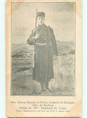 Unused Pre-Linen royalty PRINCE LEOPOLD OF BELGIUM IN MILITARY UNIFORM J4266