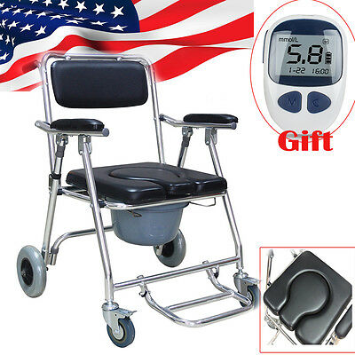 Transport Bedside Commode Folding Wheelchair Toilet Chair+Blood Glucose Meter CE