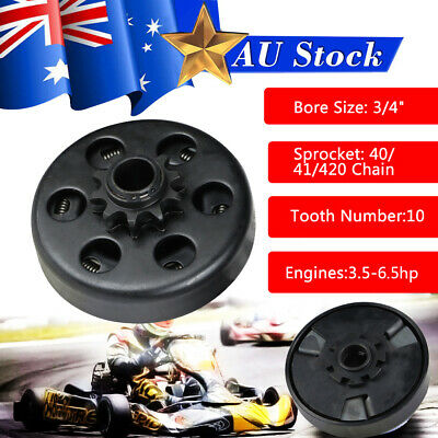 """Centrifugal Dry Clutch 19mm 3/4"""" 10Tooth 420 Pitch Go Kart Drift Trike Buggy New"""