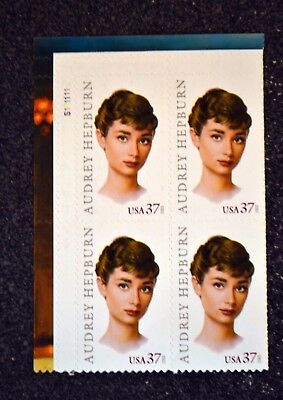 2003USA #3786 37c Audrey Hepburn - Legends of Hollywood - Plate Block of 4  Mint