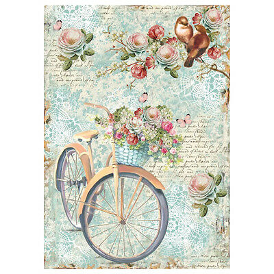 1 Blatt DIN A4 Decoupage Reispapier DFSA4238  Bike and branch with flowers