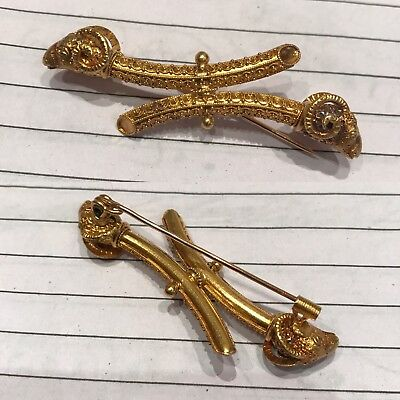 Antique 19th C Archaeological Roman 22ct Or 24ct Gold Brooch Form Of 2 Ram Head