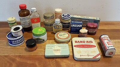 Vintage Medicine Bottles, Tins, Jars Bandages and Boxes Collectable Medical