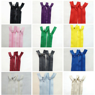 10 x New Assorted Invisible Nylon Zips Sewing Closed End Zippers Color Random